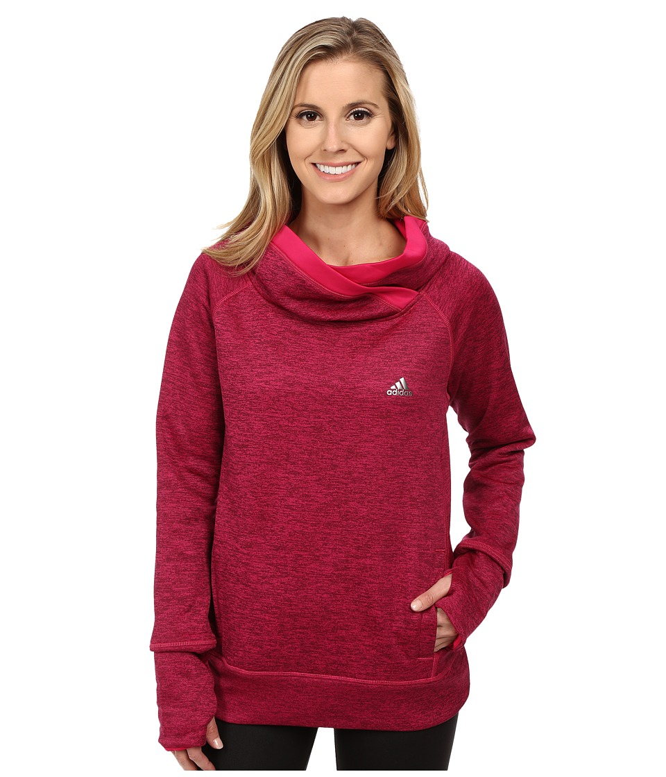 adidas - Team Issue Fleece Exaggerated Mock Pullover (Maroon Heather/Bold Pink/Matte Silver) Women