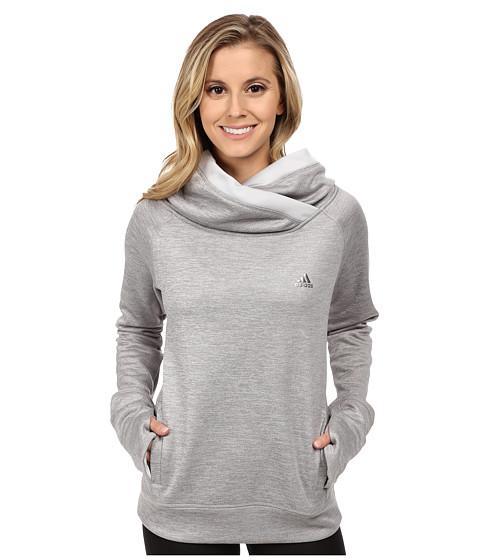 adidas - Team Issue Fleece Exaggerated Mock Pullover (Light Grey Heather/Light Grey/Matte Silver) Women