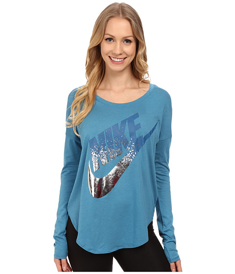 Nike - Signal Long Sleeve Tee Metallic (Stratus Blue) Women's T Shirt