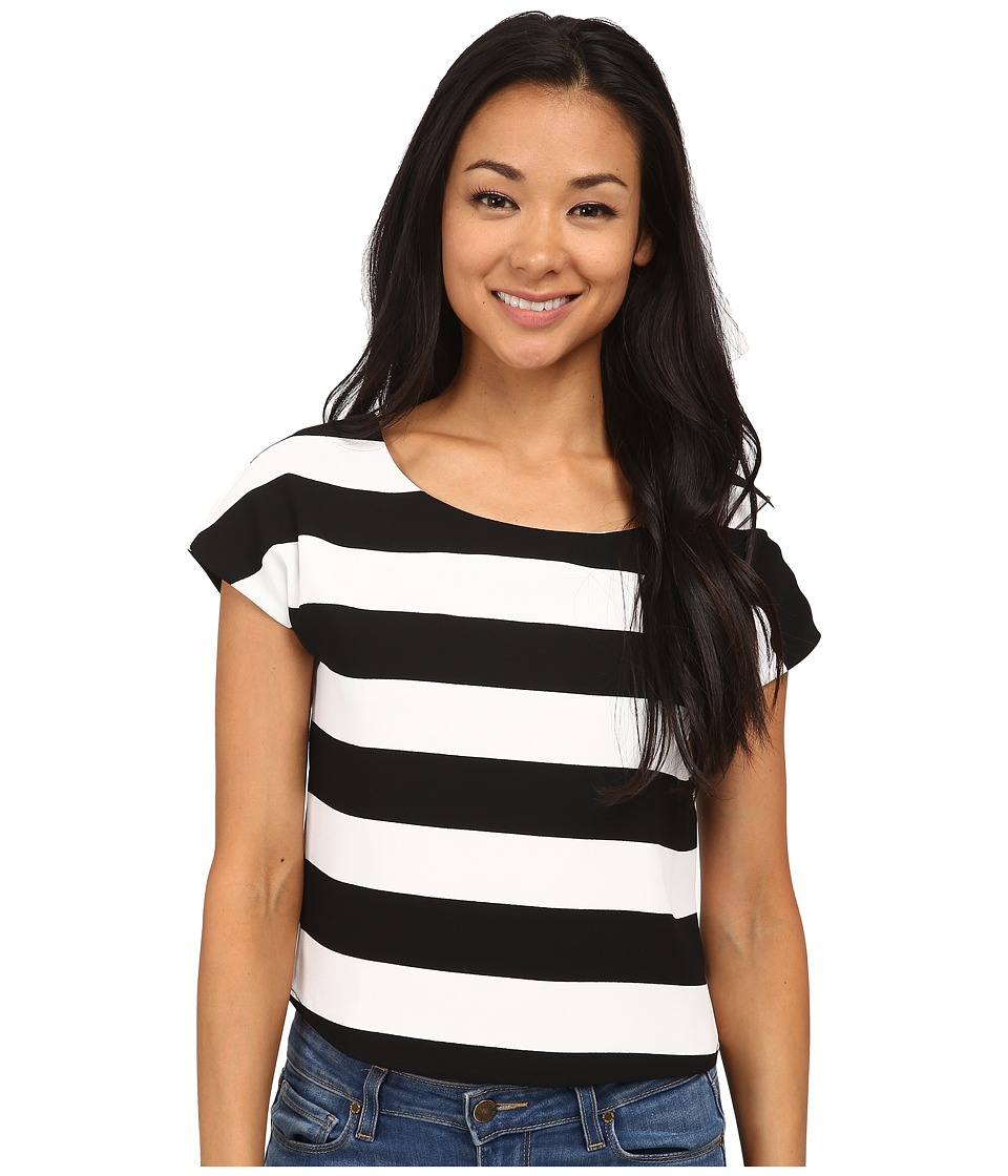 Sam Edelman - SL Stripe Crop Top (Black/Ivory) Women's Clothing