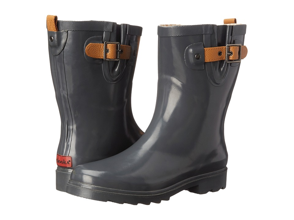 Chooka Top Solid Mid Rain Boot (Charcoal) Women