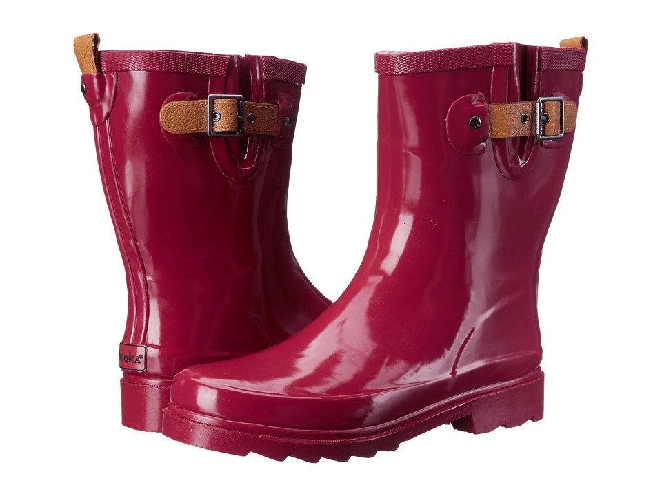 Chooka Top Solid Mid Rain Boot (Garnet) Women