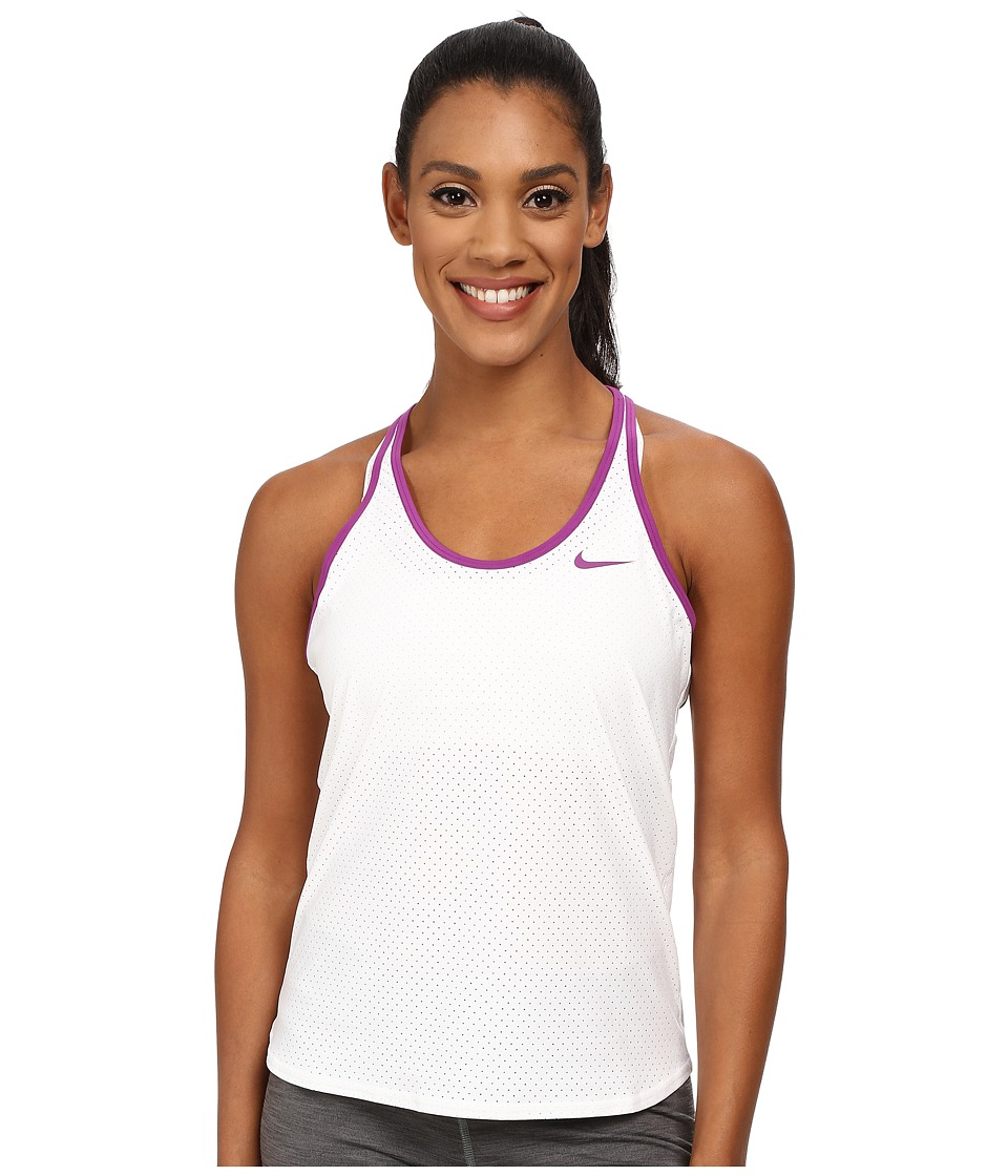 Nike - Slam Breathe Tank Top (White/Purple Dusk) Women's Sleeveless