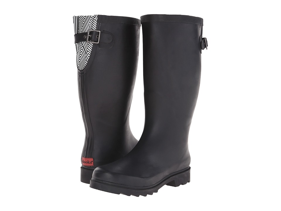Chooka - Geo Back-Gore Pop (Black) Women's Rain Boots