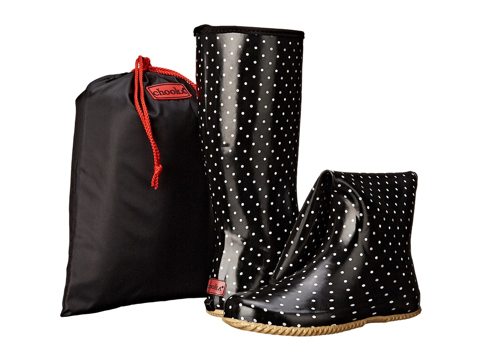 Chooka Classic Dot Packable Rain Boot (Black) Women