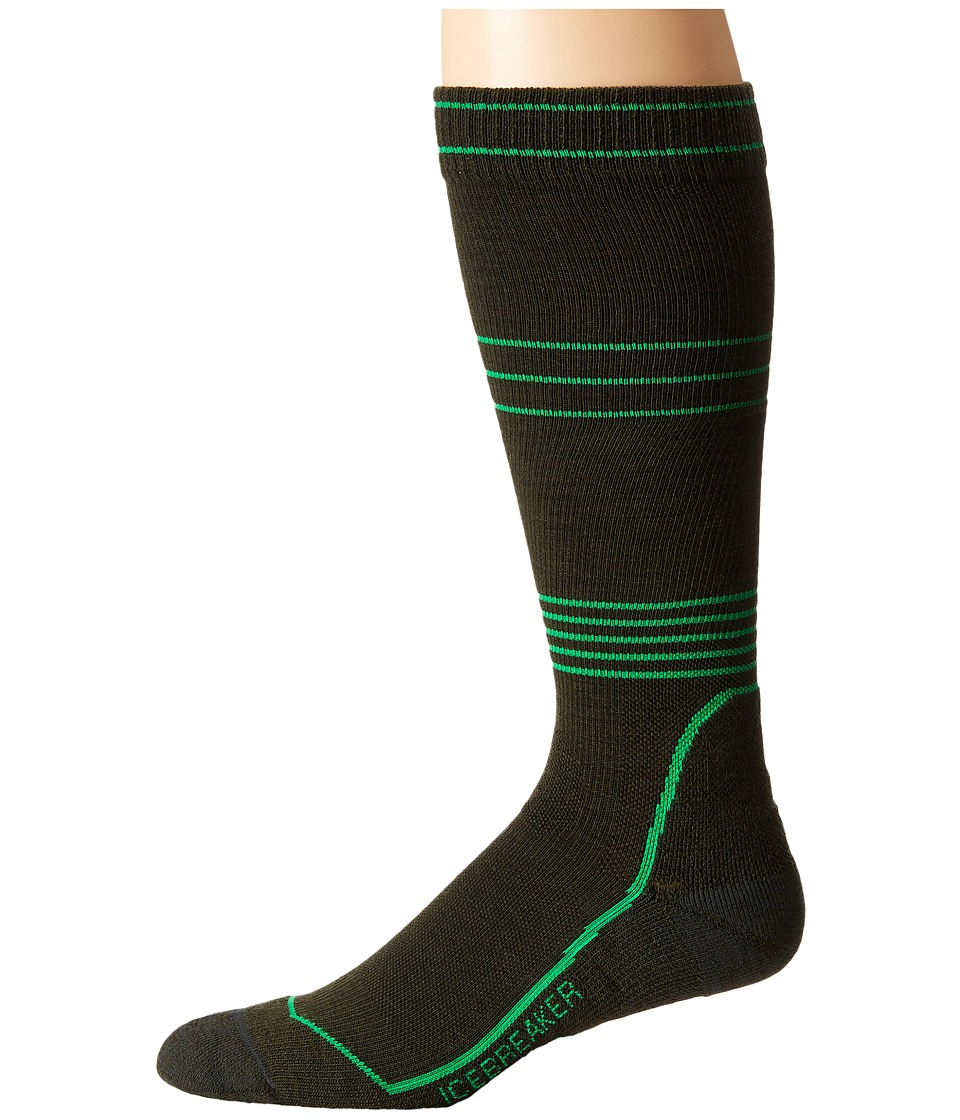 Icebreaker - Ski + Light Cushion Compression OTC 1-Pair Pack (Ivy Heather/Turf) Men's Crew Cut Socks Shoes