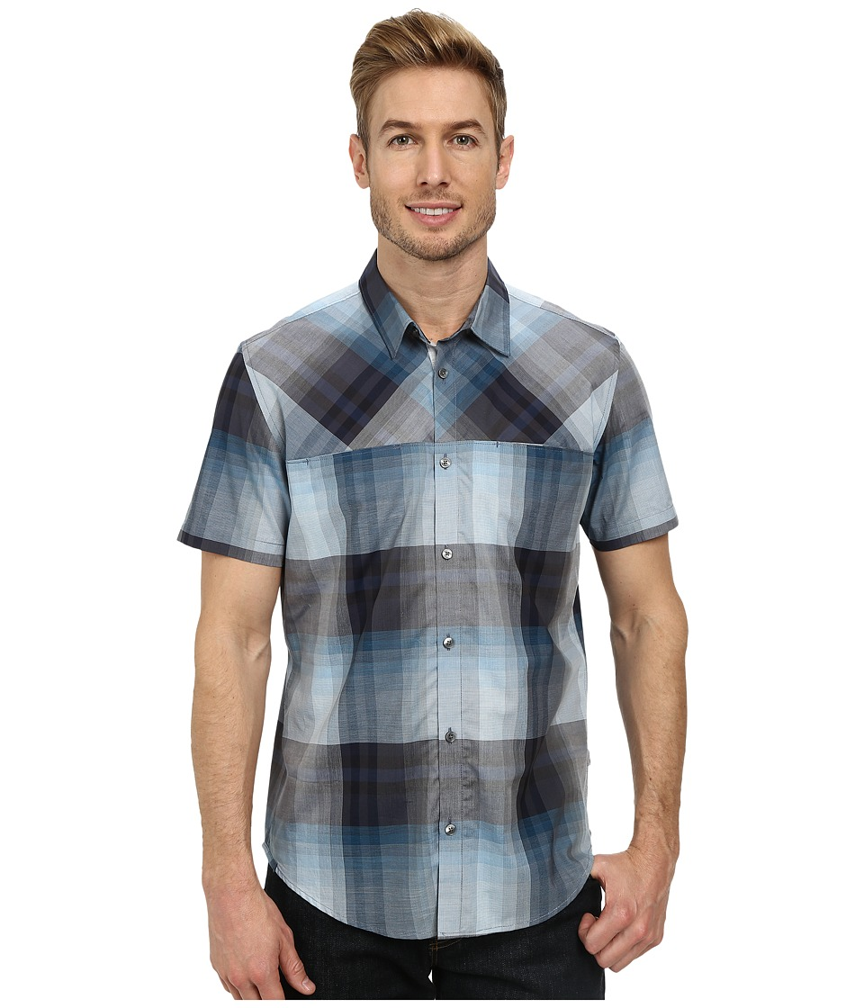 Calvin Klein - Mini Grid Plaid Short Sleeve Woven Shirt (Dusty Blue) Men's Short Sleeve Button Up