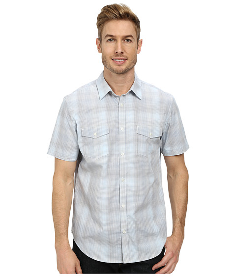 Calvin Klein - Mini Plaid End On End Short Sleeve Woven Shirt (Dusty Blue) Men's Short Sleeve Button Up