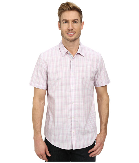 Calvin Klein - Multi Check Plaid Short Sleeve Woven Shirt (Sweet Lilac) Men