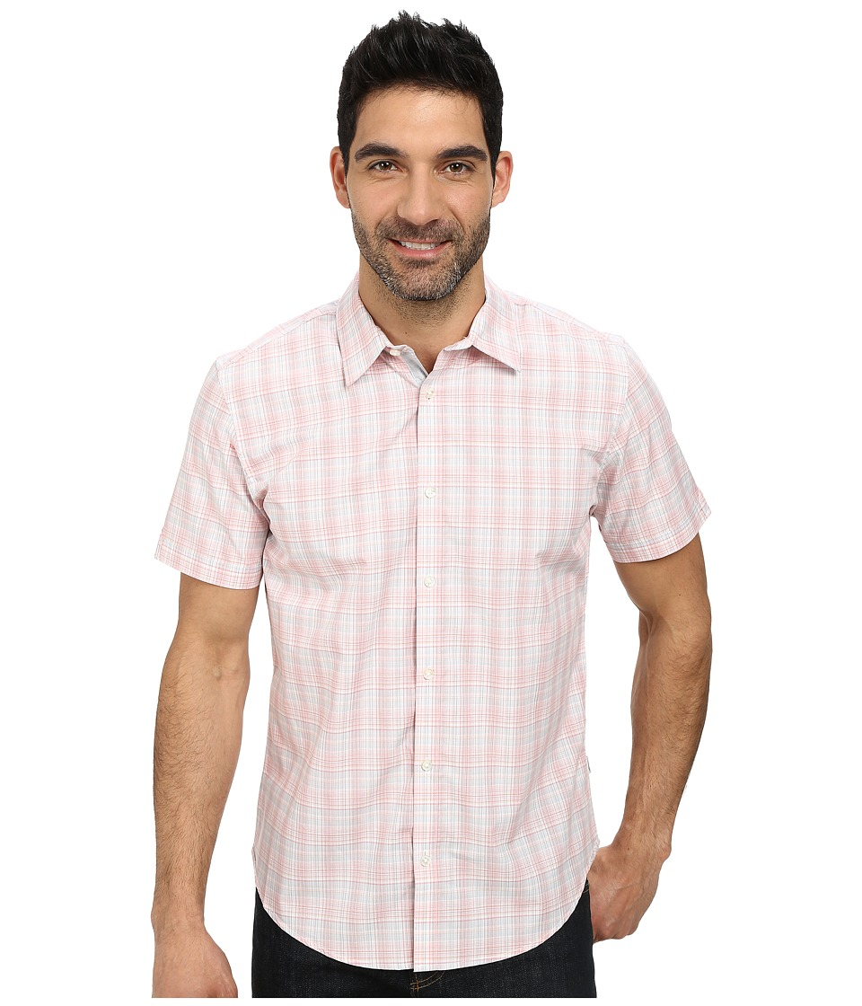 Calvin Klein - Multi Check Plaid Short Sleeve Woven Shirt (Rock Coral) Men's Short Sleeve Button Up