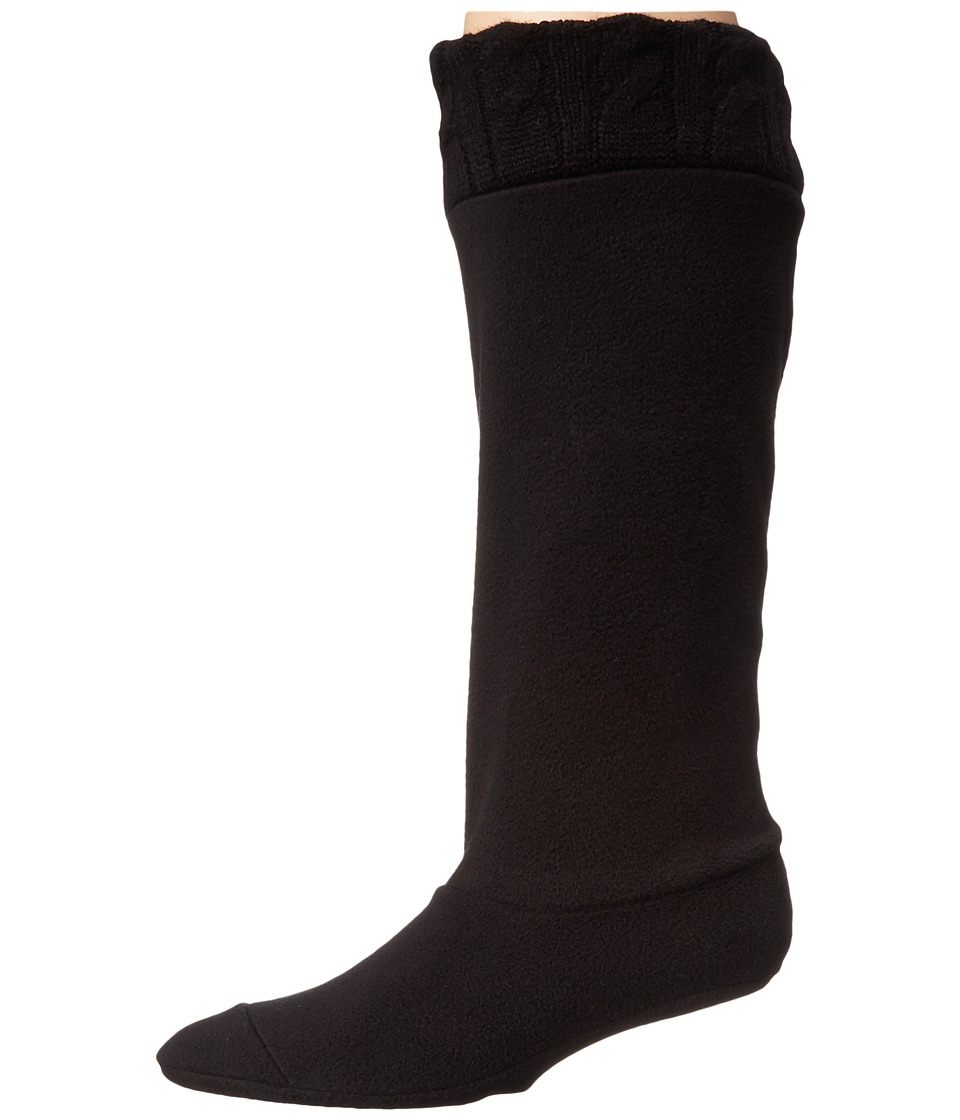 Chooka - Cable Knit Cuff Fleece Liner (Black) Women's Quarter Length Socks Shoes