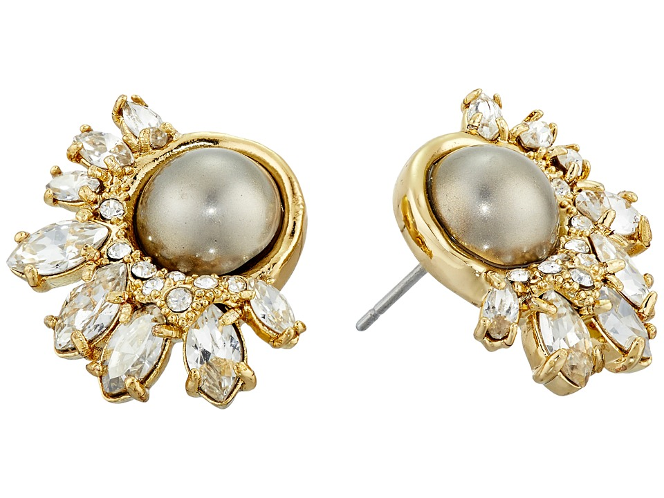 Alexis Bittar - Arrayed Marquis Accented Pearl Stud Earrings (Gold) Earring