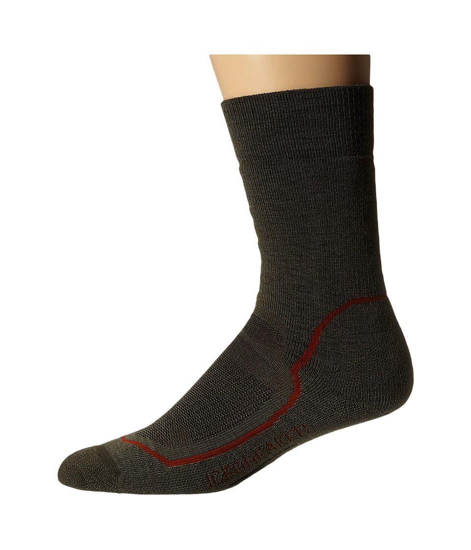 Icebreaker - Hike + Medium Crew 1-Pair Pack (Cargo/Red/Ivy Heather) Men's Crew Cut Socks Shoes