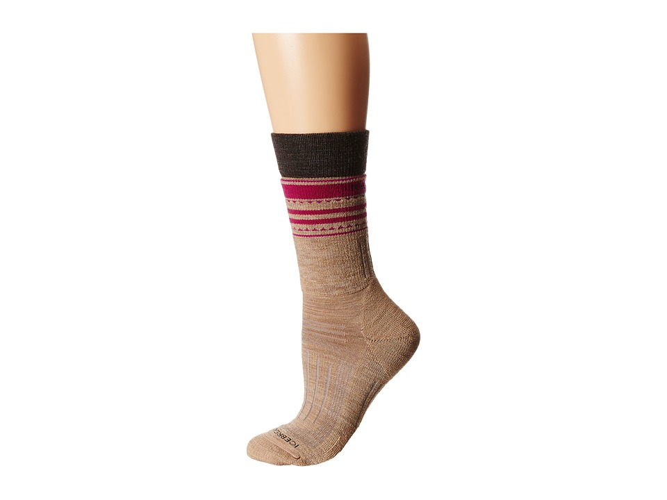 Icebreaker - Hike + Medium Crew 1-Pair Pack (Rye Heather/Earthen Heather/Magenta) Women's Crew Cut Socks Shoes