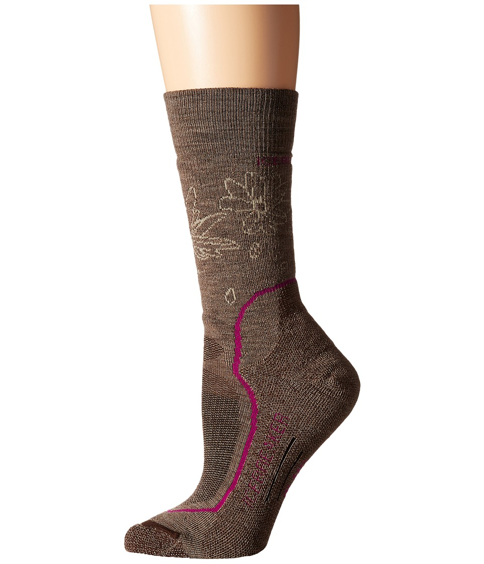 Icebreaker - Hike + Medium Crew 1-Pair Pack (Trail Heather/Cherub/Bark) Women's Crew Cut Socks Shoes