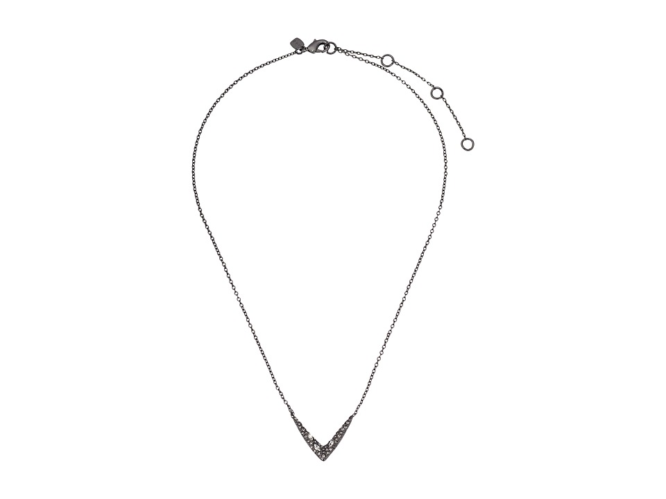 Alexis Bittar - Petite Encrusted V Pendant Necklace (Ruthenium) Necklace