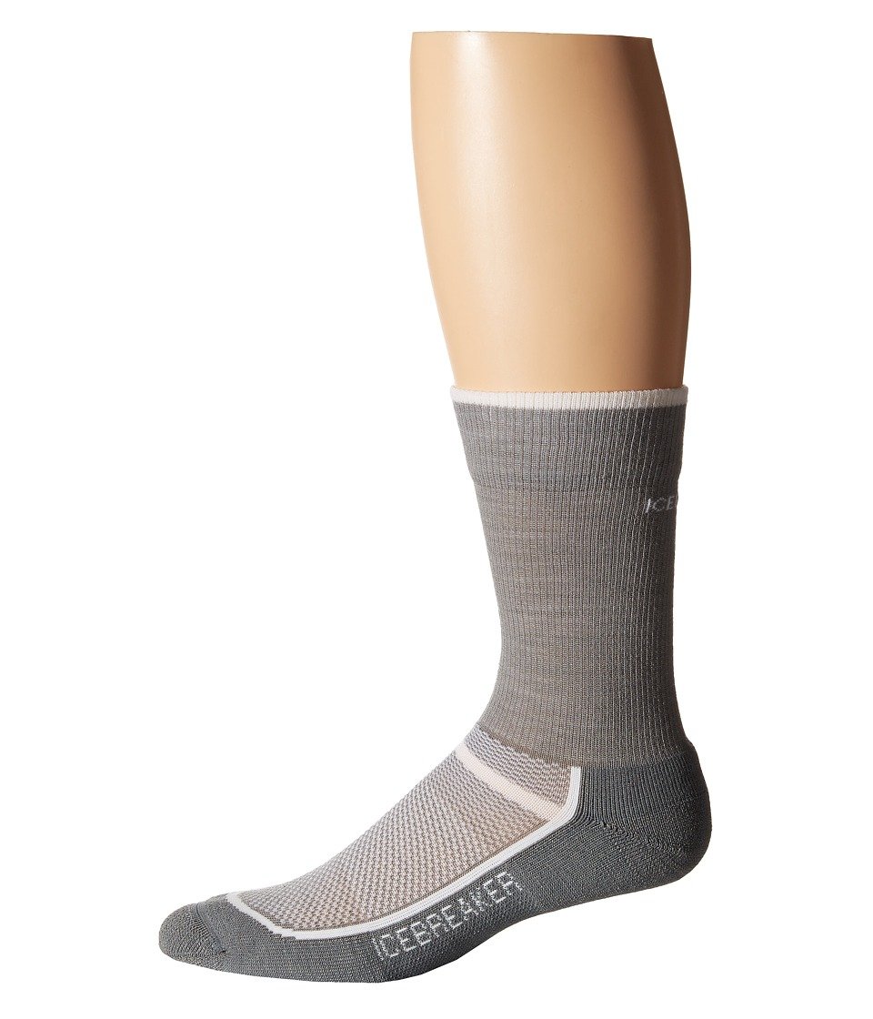 Icebreaker - Multisport Light Crew 1-Pair Pack (Fossil/White) Men's Crew Cut Socks Shoes