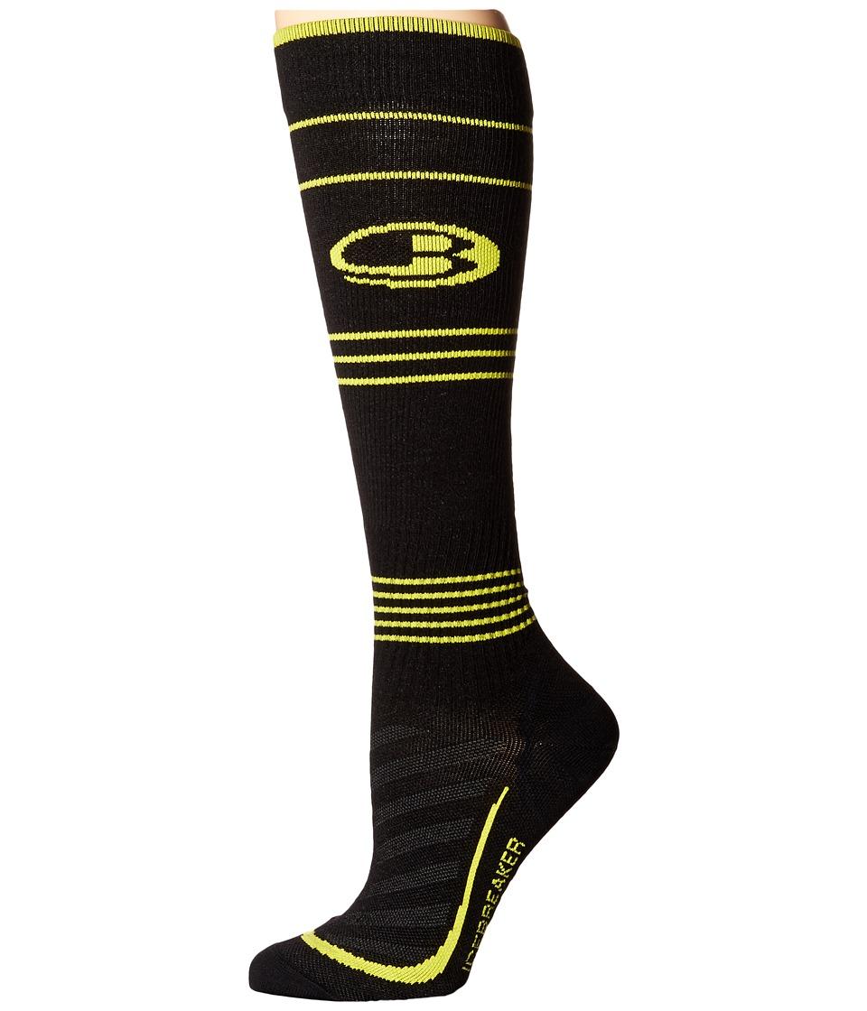 Icebreaker - Run + Ultra Light Compression OTC 1-Pair Pack (Black/Jet Heather/Fuse) Men's Crew Cut Socks Shoes