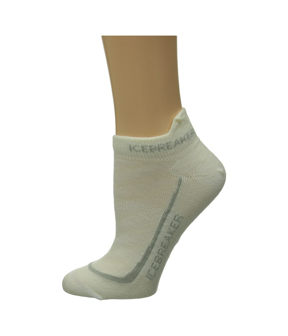 Icebreaker - Run + Ultra Light Micro 1-Pair Pack (White/Silver/White) Women's No Show Socks Shoes
