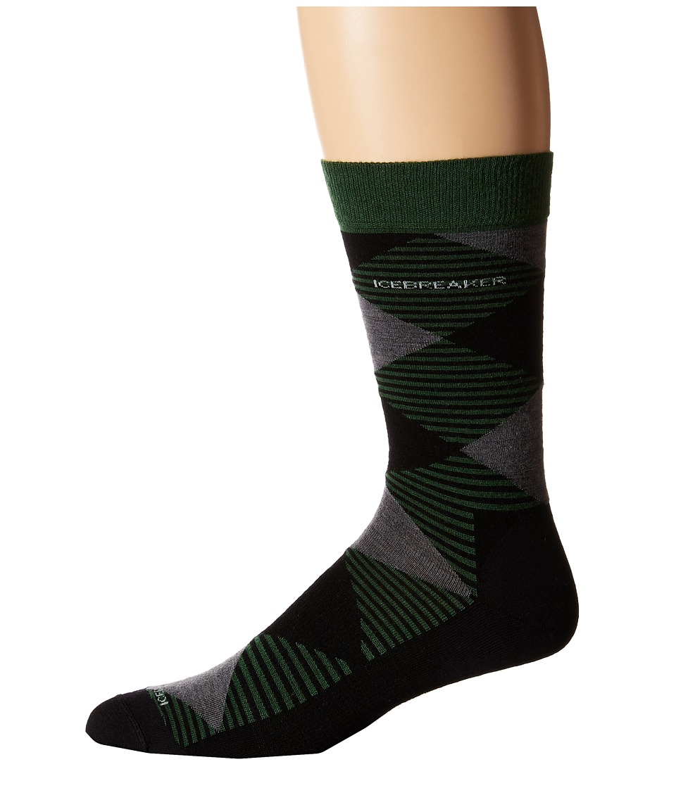 Icebreaker - Lifestyle Fine Gauge Ultra Light Crew Argyle 1-Pair Pack (Scout/Black/Jet Heather) Men's Crew Cut Socks Shoes