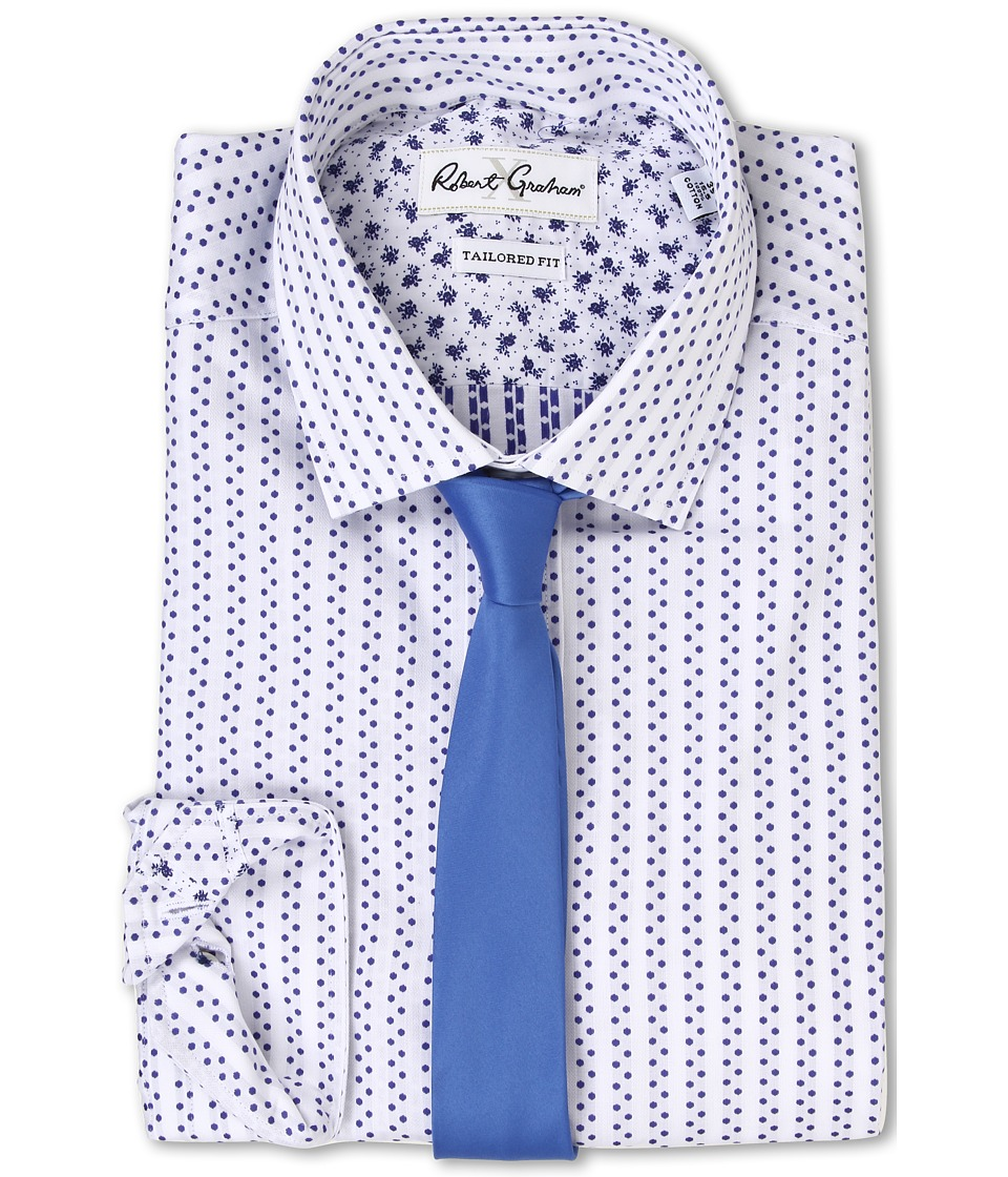 Robert Graham - Sanbuono Dress Shirt (White/Navy) Men's Clothing