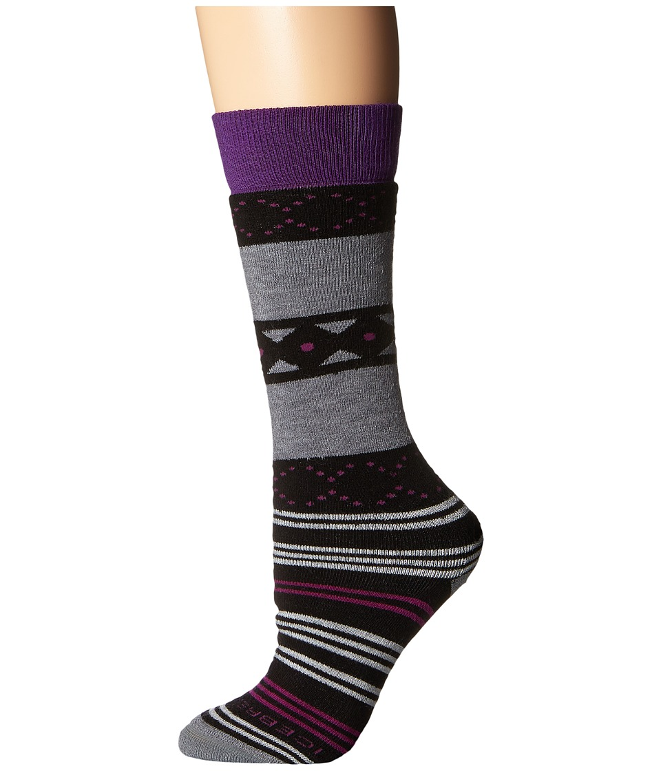 Icebreaker - Lifestyle Medium OTC Fiesta 1-Pair Pack (Black/Twister Heather/Emperor) Women's Crew Cut Socks Shoes
