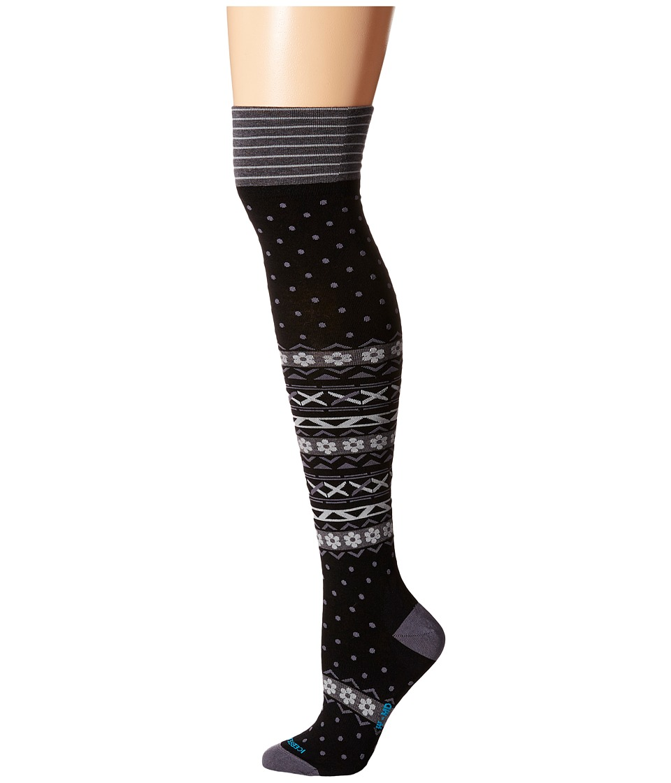 Icebreaker - Lifestyle Fine Gauge Ultra Light Over The Knee Dotty 1-Pair Pack (Black) Women's Crew Cut Socks Shoes