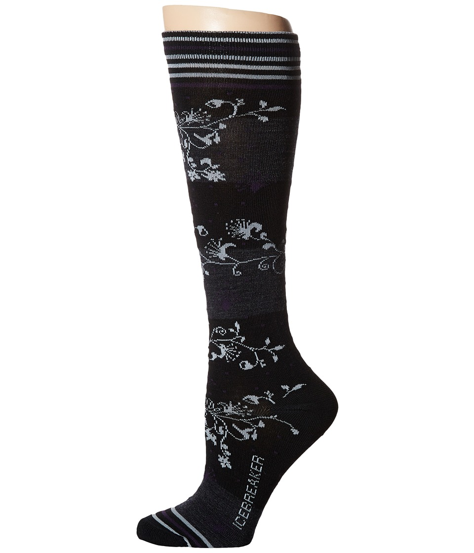 Icebreaker - Lifestyle Ultra Light OTC Vines 1-Pair Pack (Black/Pearl) Women's Crew Cut Socks Shoes