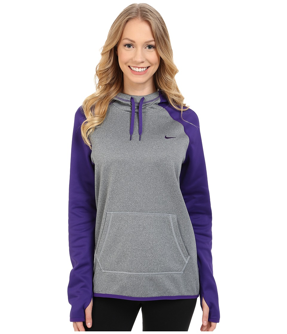 Nike - All-Time Pullover Training Hoodie (Dark Grey Heather/Court Purple) Women's Clothing