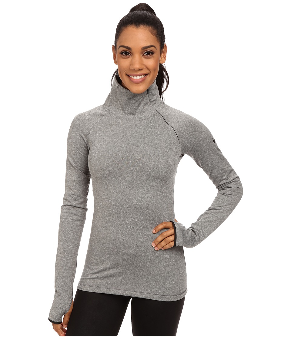 Nike - Pro Warm Zip Top (Carbon Heather/Black) Women's Workout