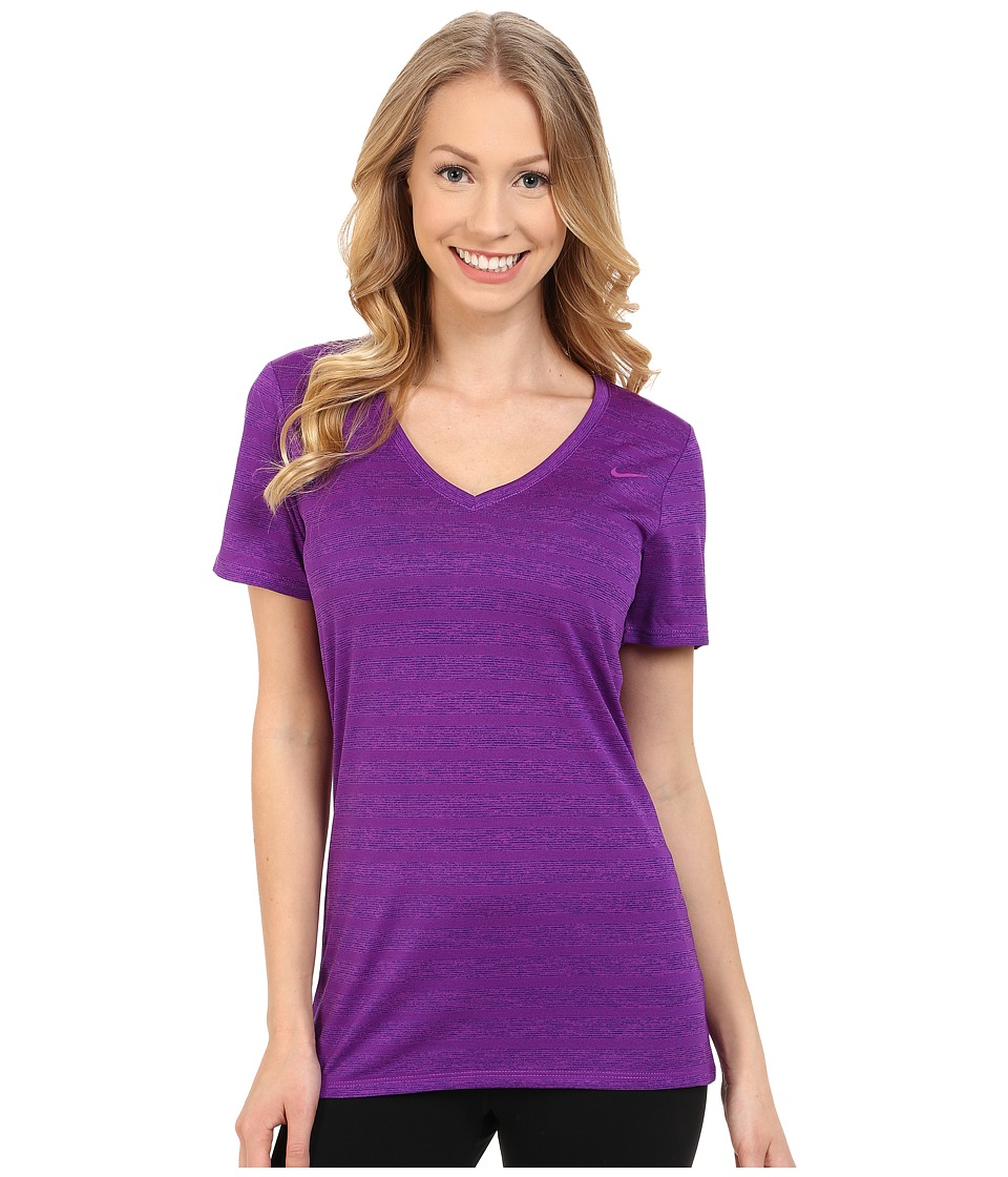 Nike - V-Neck Legend Short Sleeve Veneer Tee (Vivid Purple/Court Purple/Vivid Purple) Women's T Shirt