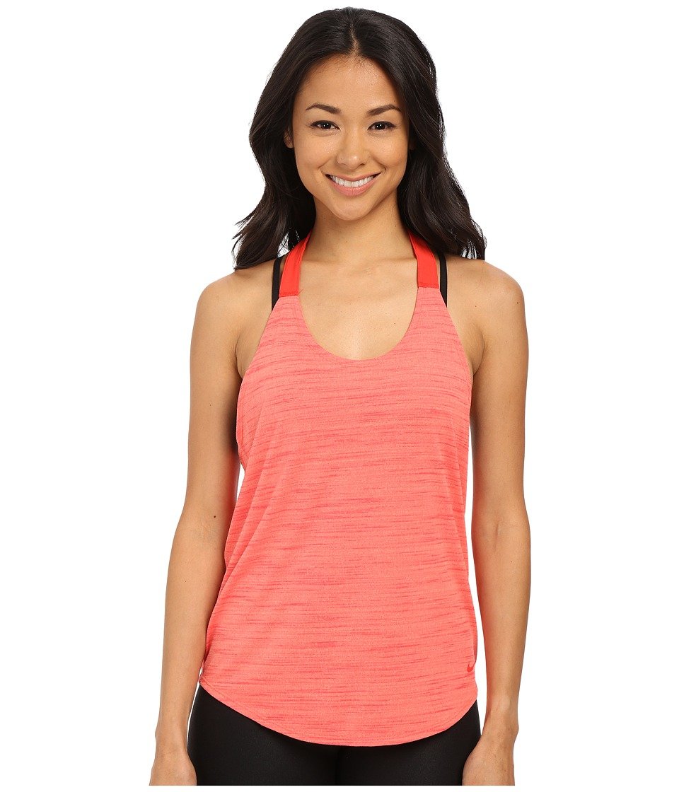 Nike - Dri-FIT Elastika Heathered Tank Top (Light Wild Mango/Light Crimson) Women's Sleeveless