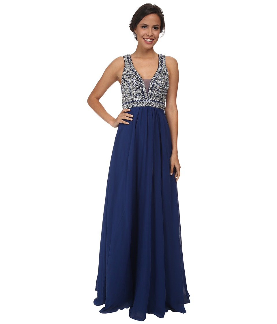 Faviana - Glamour Chiffon V-Neck Beaded Bust S7500 (Navy) Women's Dress