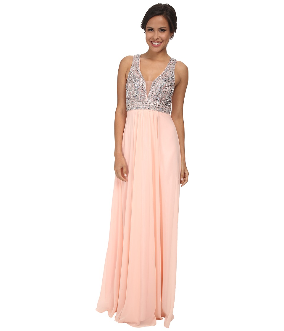 Faviana - Glamour Chiffon V-Neck Beaded Bust S7500 (Soft Peach) Women's Dress