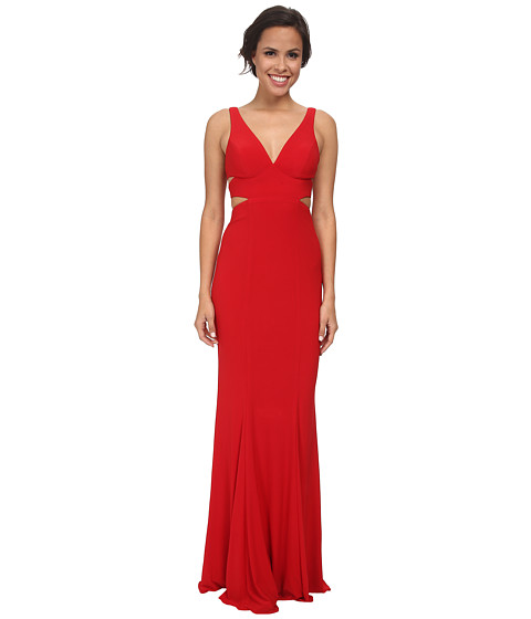 Faviana - Jersey V-Neck Side Out 7541 (Red) Women's Dress