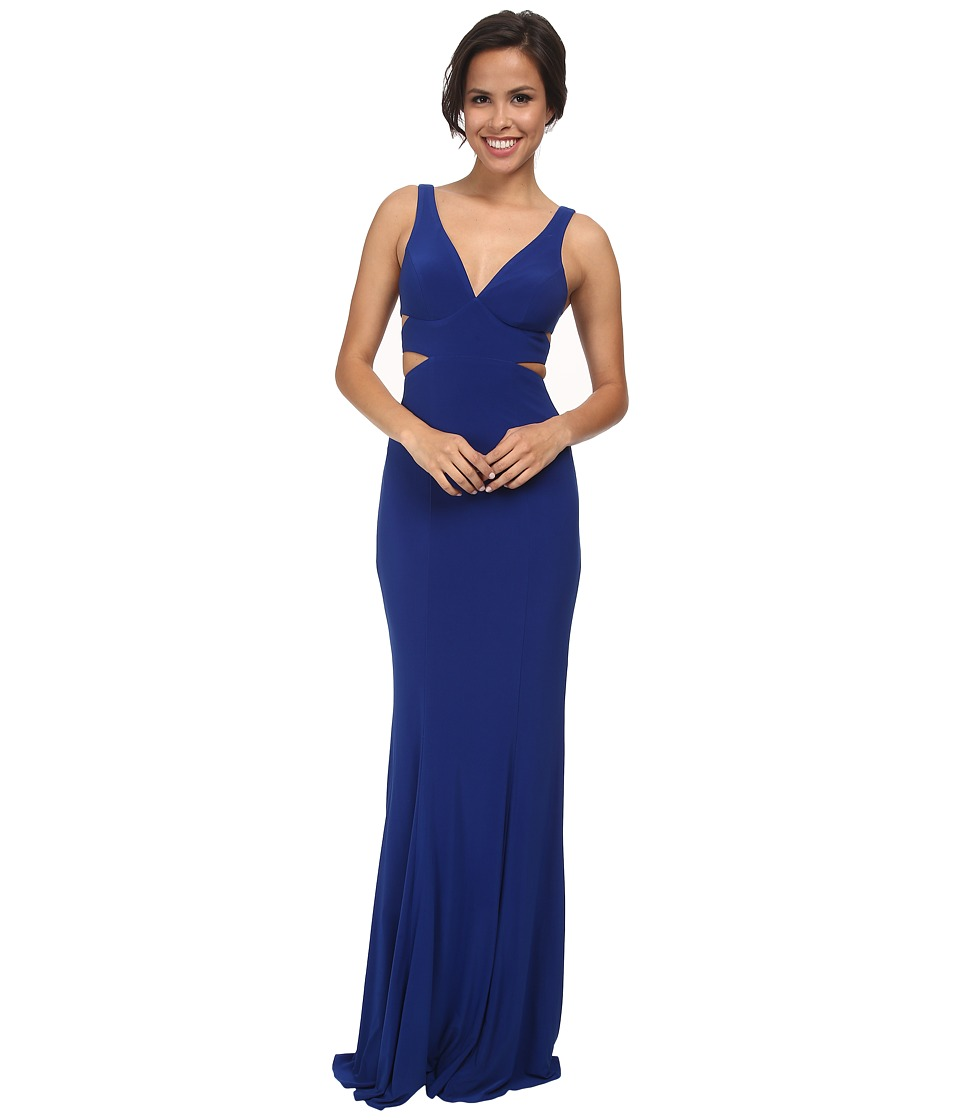 Faviana - Jersey V-Neck Side Out 7541 (Royal) Women's Dress