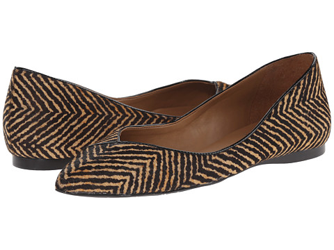 French Sole - Peppy (Black/Beige Herringbone Hair) Women's Flat Shoes