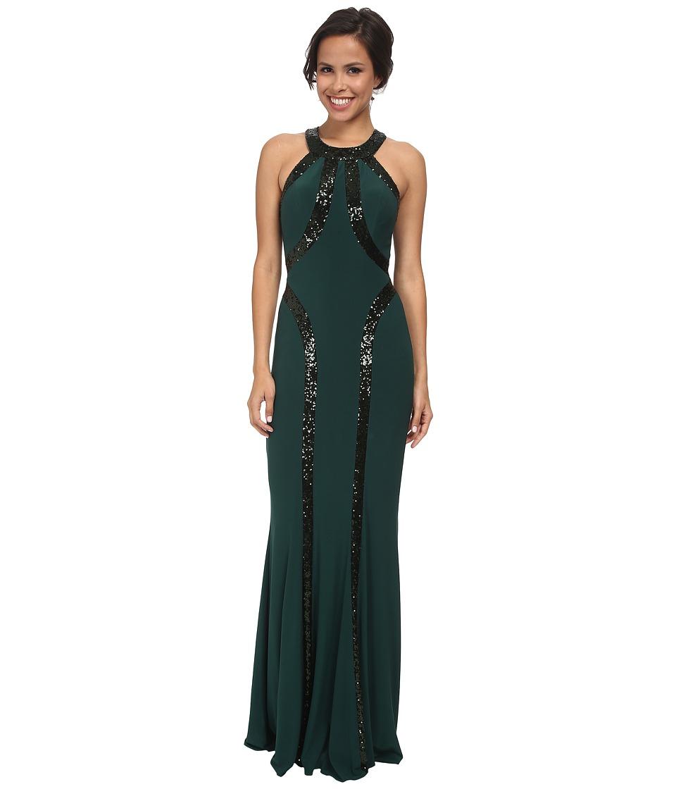 Faviana - Jersey Sequin Trim Dress 7510 (Hunter Green) Women