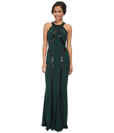 Faviana - Jersey Sequin Trim Dress 7510 (Hunter Green) Women