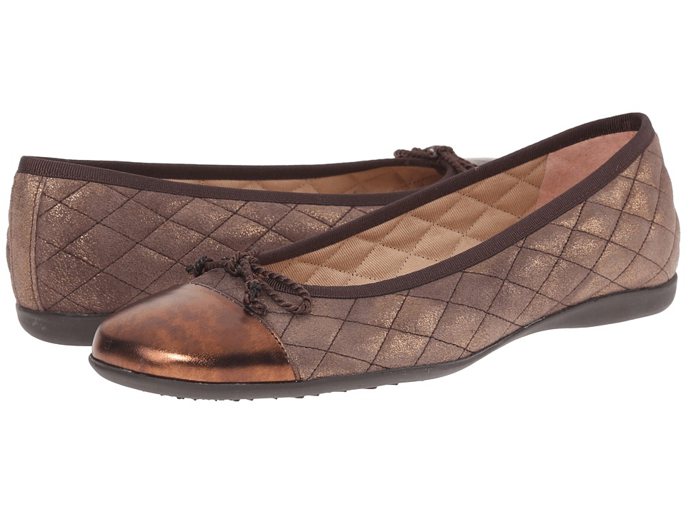 French Sole - PassportR (Bronze Metallic Nappa/Suede) Women's Dress Flat Shoes