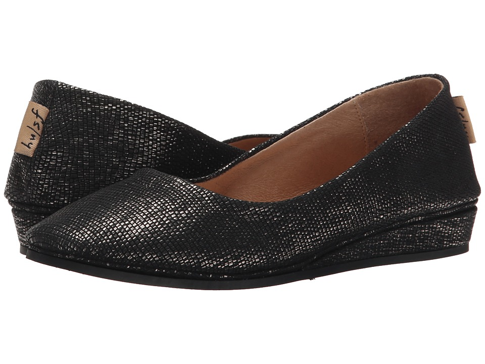 French Sole - Zeppa (Black Metallic Lizard) Women's Slip on Shoes