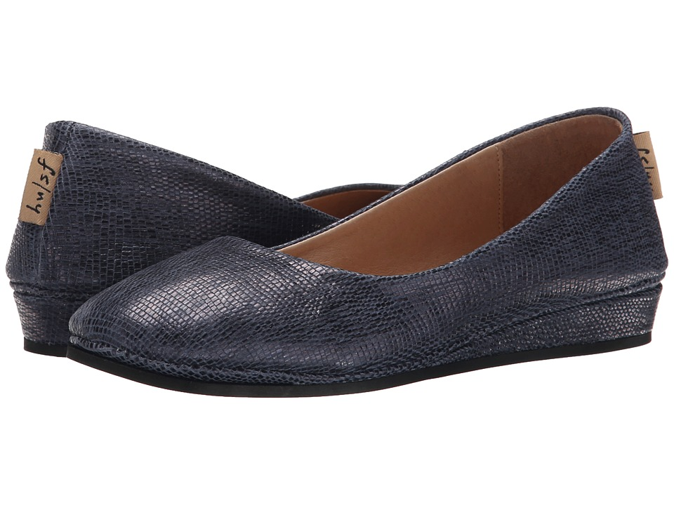 French Sole - Zeppa (Blue Metallic Lizard) Women's Slip on Shoes