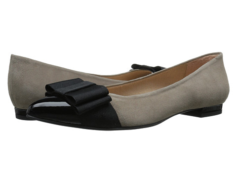 French Sole - Onstage (Black Patent/Taupe Suede) Women's Flat Shoes