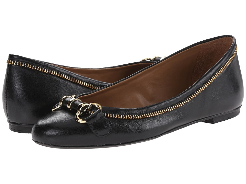 French Sole - Padre (Black Leather) Women's Flat Shoes