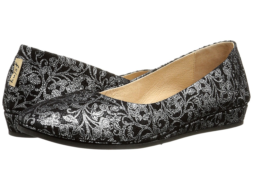 French Sole - Zeppa (Black Floral Cartizze) Women's Slip on Shoes