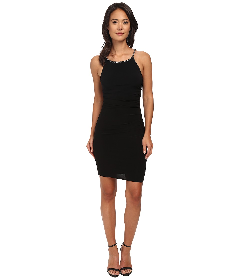 Laundry by Shelli Segal - Side Shirred Jersey Cocktail Dress w/ Jeweled Straps (Black) Women's Dress