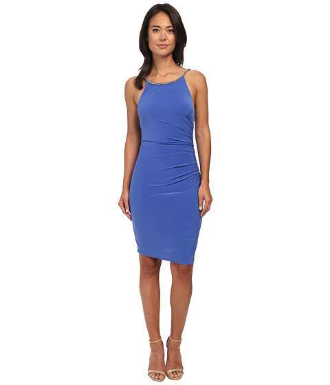 Laundry by Shelli Segal - Side Shirred Jersey Cocktail Dress w/ Jeweled Straps (Dazzling Blue) Women