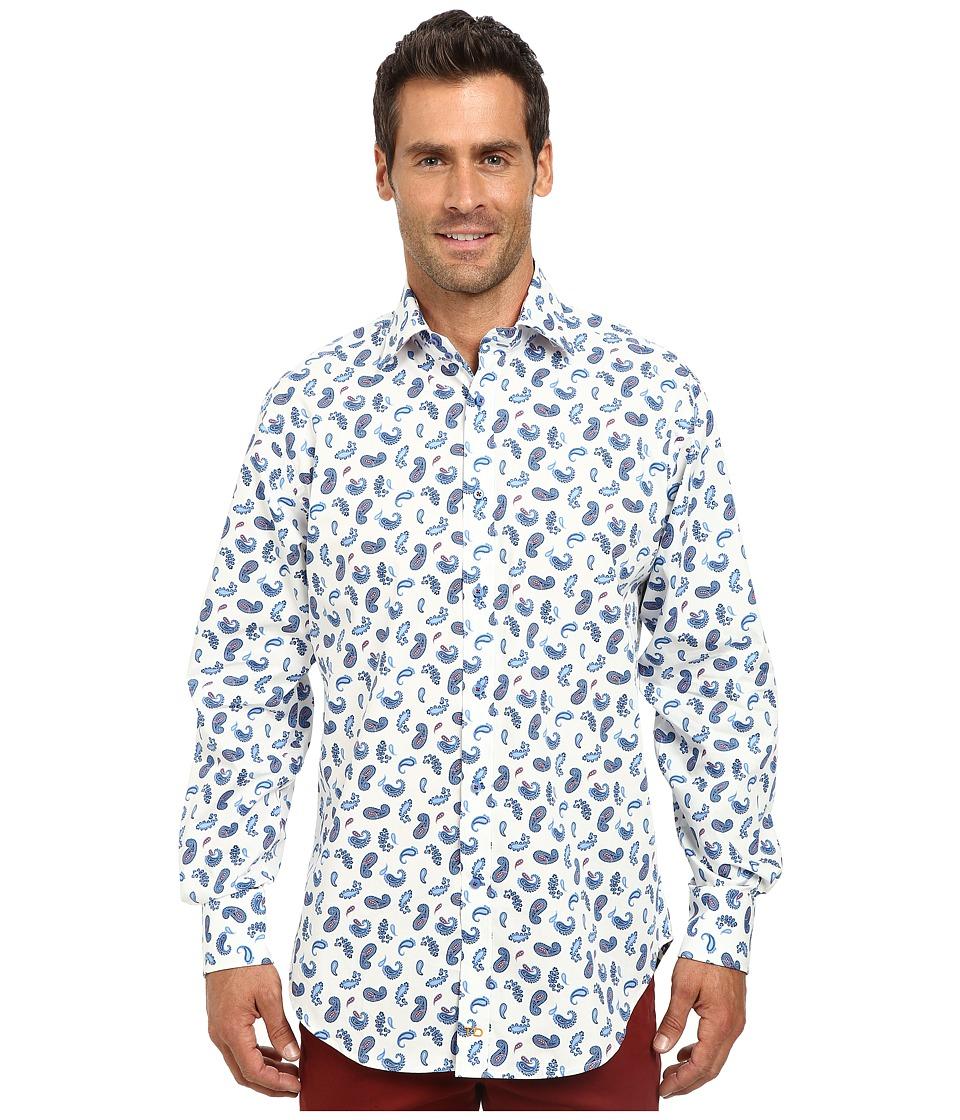 Thomas Dean & Co. - Long Sleeve Woven Paisley Print (Blue) Men's Long Sleeve Button Up