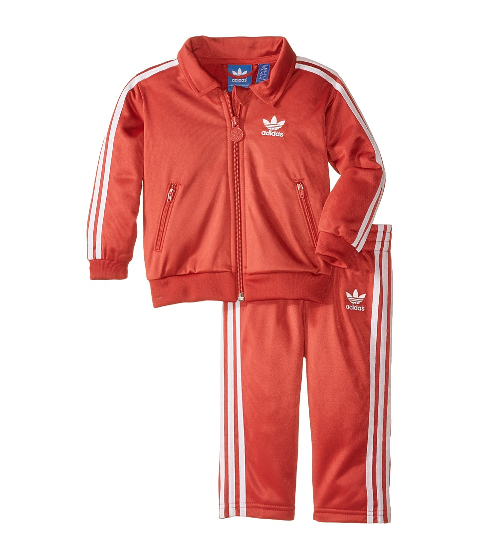 adidas Originals Kids - Firebird Tracksuit (Infant/Toddler) (Raw Red/White) Kid's Jumpsuit & Rompers One Piece