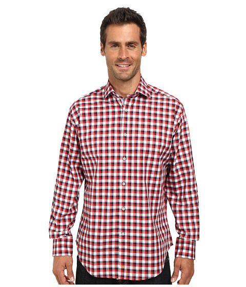 Thomas Dean & Co. - Long Sleeve Woven Textured Check (Red) Men's Long Sleeve Button Up